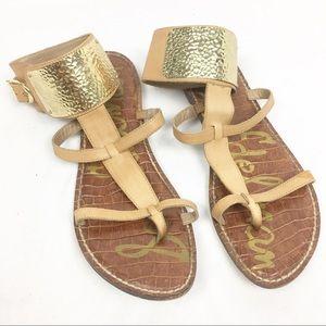 SAM EDELMAN Genette Gold Panel Gladiator Sandals